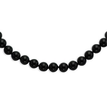 Primary image for Lex & Lu 8-8.5mm Smooth Beaded Black Agate Necklace 18""