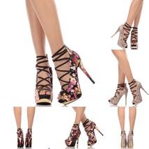 Floral Faux Leather Peep Toe Strappy High Heels Stilettos Platform Pump ... - $29.99