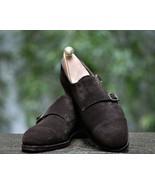 Unique Chocolate Brown Double Monk Strap Cap Toe Shoes, Men's Suede Part... - $158.99