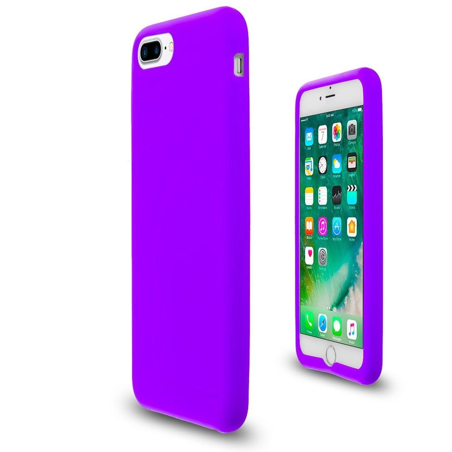 Purple Soft Silicone Rubber Case Flexible Skin Jelly Cover for iPhone 7 Plus