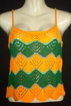 Handknitted Boho Hippie Summer Tank Top Green Yellow Rasta Festival Beach - $29.99