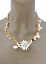 Weiß Kunstperle & Strass Zierliche Blume Halskette, Braut, Junior Festzug - $13.38