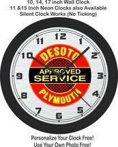 Desoto Plymouth Approved Service Emblem Wall Clock-Free US Ship - $27.71+