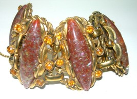 LARGE WIDE RHINESTONE THERMOSET LUCITE BRASS TONGUE CLASP VINTAGE BRACELET - $200.00