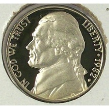 1982-S DCAM Proof Jefferson Nickel PF65 #0486 - $1.99