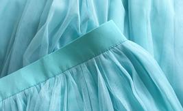 Blue Tulle Maxi Skirt Full Length Tulle Skirt Blue Themed Wedding Skirt Outfit image 5
