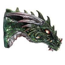 Medieval Times Green Dragon Wall Plaque With LED Illuminated Eyes Sculpt... - $29.99
