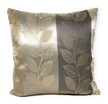 "2X Filled Embroidered Leaf Branch Banded Stripe Silver Beige 22"" - 55CM Cushions - $31.26"
