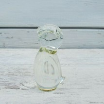 Vintage Clear Glass Owl Figurine Paperweight Small Solid Glass Bird - $13.30