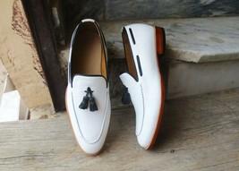 Handmade Men's White Leather Black Tassel Slip Ons Loafer Dress/Formal Shoes image 1