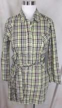 Splendid Tunic Long Shirt Top Small Brown Green Plaid Belt - $18.99