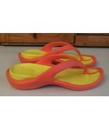 Crocs Thong Sandal Woman's SHOES Sz 7 Orange Yellow - $15.83