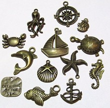 Olivia Pearl Designs Set 12 Nautical Beach and Fishing Bronze Tone Jewel... - $9.75