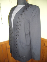 Women's Executive Collection Black Dress Jacket With Embroidery & Rhinestones 14 image 7
