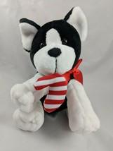 """Animal Adventure Black White Dog Plush 8"""" 2015 Candy Cane Stuffed Animal toy - $6.26"""