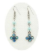 Women beautiful Aquamarine Swarovski element crystal clover drop pierced... - $19.00
