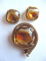 Antique LargeTwo-Tone Cut Glass Rhinestone Brooch Pin & Earring Lot - $48.95