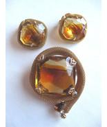 Antique LargeTwo-Tone Cut Glass Rhinestone Brooch Pin & Earring Lot - $48.95