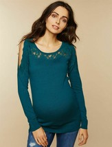 Motherhood Maternity Lace Trim Cold Shoulder Sweater Teal NWT Size Large - $20.26