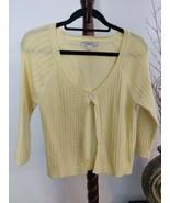G.H. Bass  & Co womens M yellow sweater cardigan 1 button closure 3/4 sl... - $15.76