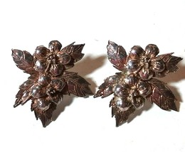 VINTAGE STERLING SILVER LEAVES FLOWERS 925 PIERCED EARRINGS - $40.00