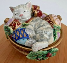 Fitz and Floyd Essentials Kristmas Sleeping Kitty Christmas Candy Bowl W... - $419,22 MXN