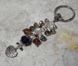 Heart Crystal Cluster Beaded Handmade Keychain Split Key Ring Purple Gol... - $14.83