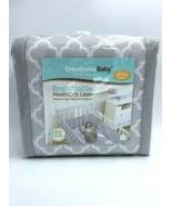NEW Breathable Baby Mesh Crib Liner Bumper Gray White Clover - $29.99