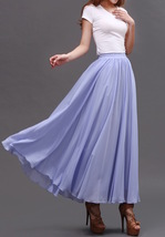 AQUA BLUE Long Chiffon Skirt High Waisted Full Circle Wedding Bridesmaid Skirt image 12
