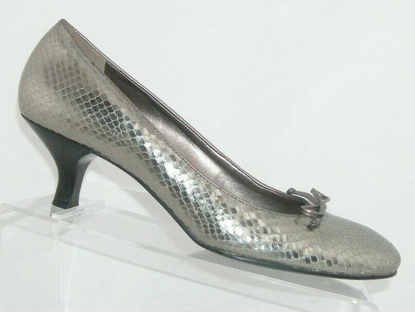 Primary image for Franco 'Ema' silver leather snake print round toe bow slip on pump heels 10M