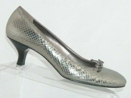 Franco 'Ema' silver leather snake print round toe bow slip on pump heels... - $33.30