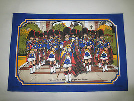 """NEW Vintage MARCH OF THE PIPES & DRUMS Towel - 20"""" x 29.5"""" - Made in Bri... - $9.90"""