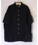 Men's Vintage Tommy Jeans Black Button Front Short Sleeve Spelled Out Sh... - $16.60