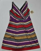 NWT ANNE KLEIN Azalea Multi Color Stripe Sleeveless Pleat Dress 12 Missi... - $48.49
