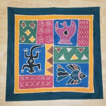 Batik Fabric Primitive Art Wall Goa Cloth Panel Southwest Quilting Cotto... - $36.61