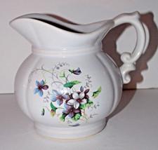 McCoy Pottery Floral Pitcher 5in 7528 USA Vintage Violet Flowers Carafe - $15.99