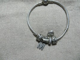 Auth. Pandora Pave CZ. Heart Clasp Bracelet w/5 Pandora Charms (locket )... - $59.99