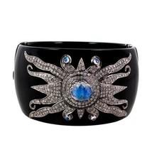 14 K Gold Pave 2.58 Ct Diamond Bangle Bracelet Sterling Silver Moonstone Jewelry - $1,240.68