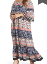 Eliza J NWT Size 24W Maxi Boho Off The Shoulder Dress With Tie Summer Casual - $70.81