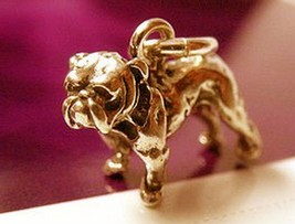 NICE Bulldog 3D Pug Charm Gold plated over real sterling silver Dog Pend... - $18.16