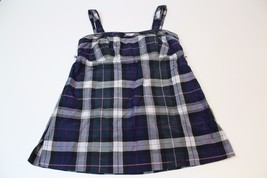 J2745 Womens Juniors Black Plaid American Eagle Adjust Straps Empire Smock Top 2 - $26.06