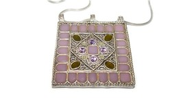 ENAMELED PENDANT ORNATE NECKLACE W/ AUSTRIAN PURPLE MAUVE CRYSTAL RHINES... - $36.50