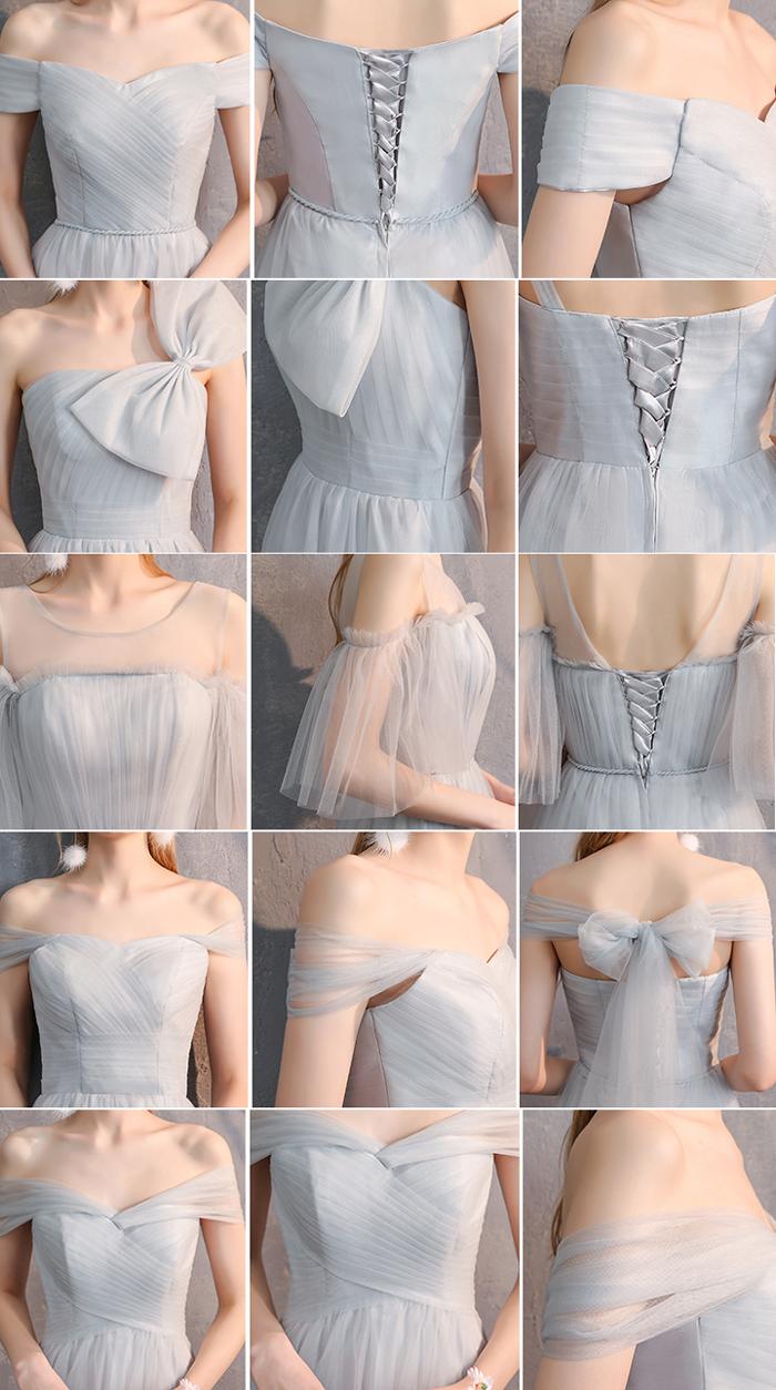 Bridesmaid tulle dress light gray 12