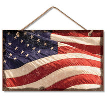 Retro Wooden Sign Wall Plaque American Flag Flying Old Glory - $11.95