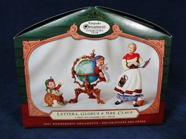 Set of 3 Hallmark Keepsake Ornament Collector's Club Lettera Globus Mrs Claus image 2