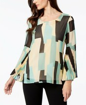 JM Collection WOMEN'S  Pleated Sleeve Blouse,GREEN MULTI SIZE XL - $15.10