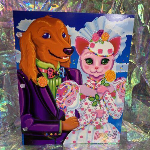 Vintage Lisa Frank Double Pckt Folder SUPER Rare Dog Cat Wedding Day Get Married