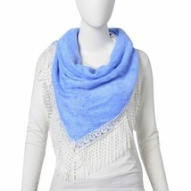 Sky Blue Colour Gypsy Style Triangle Scarf with Tassels (Size 116x66 Cm) - $6.43