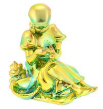 Zsolnay Iridescent Eosin Figurine Girl Feeding Goose - $294.68