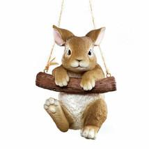 Tree Hanging Brown Bunny Rabbit Yard Statue Garden Sculpture NEW - $26.71